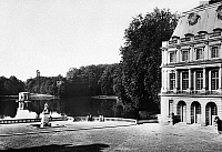 0092981 © Granger - Historical Picture ArchiveFRANCE: FONTAINEBLEAU.   View of the carp pond and the Chinese museum on the grounds of the Chateau de Fontainebleau, France. Photographed mid-20th century.