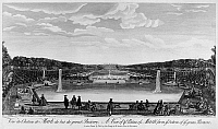 0117675 © Granger - Historical Picture ArchiveFRANCE: CHATEAU DE MARLY.   View of the small royal palace at Marly, showing the expansive pools and fountains. The water machine at Marly provided water for the fountains at Versailles. Line engraving by Jacques Rigaud, c1730.