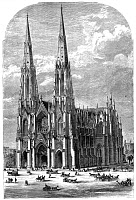 0077424 © Granger - Historical Picture ArchiveNEW YORK: ST. PATRICK'S.   The second, and present, St. Patrick's Cathedral at Fifth Avenue between 50th and 51st streets was still far from completion when this engraved view was published in 1869.