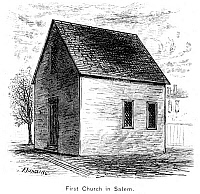 0077427 © Granger - Historical Picture ArchiveFIRST CHURCH AT SALEM.   The first church at Salem, Massachusetts. Wood engraving, 19th century.