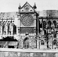 0117374 © Granger - Historical Picture ArchivePARIS: NOTRE DAME, c1860.   Detail of Notre Dame Cathedral in Paris, France, seen from the south. Photograph c1860, before the restoration led by Viollet-le Duc and Lassus was completed.