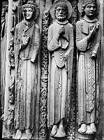0117691 © Granger - Historical Picture ArchiveCHARTRES CATHEDRAL.   Figures from the royal portal, right side, Chartres Cathedral, France. Photograph, mid-20th century.