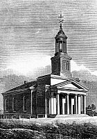 0119537 © Granger - Historical Picture ArchiveQUINCY: ADAMS TEMPLE.   First Parish Church of Quincy, Massachusetts, also known as Adams Temple, burial site of Presidents John Adams and John Quincy Adams. Wood engraving, American, 19th century.