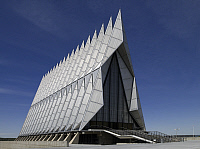 0127394 © Granger - Historical Picture ArchiveCOLORADO: CHAPEL, 2007.   The Air Force Academy Chapel built in 1956-1962 by architect Waler Netsch with Sidmore Owings and Merril in the Expressionist Modern style, Colorado Springs, Colorado. Photograph by Carol M. Highsmith, June 2007.
