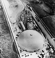 0129589 © Granger - Historical Picture ArchiveGEODESIC DOME, 1958.   The dome of the Union Tank Car Company at Baton Rouge, Louisiana, an industrial application of Buckminster Fuller's geodesic principle of design, and the largest circular building in the world, 1958.