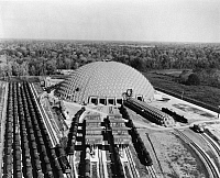 0129590 © Granger - Historical Picture ArchiveGEODESIC DOME, 1958.   Union Dome, the Union Tank Car Company of Chicago's repair facilities at Baton Rouge, Louisiana, an industrial application of the geodesic design of Buckminster Fuller, and the biggest circular building in the world, 1958.