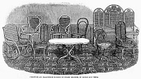 0093987 © Granger - Historical Picture ArchiveFURNITURE & PARQUET, 1862.   Furniture and parqueterie flooring by Thonet Brothers, of London and Vienna. Wood engraving, 1862.