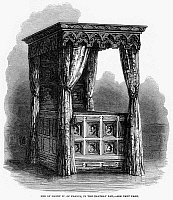0094025 © Granger - Historical Picture ArchiveHENRY IV: ROYAL BED.   Bed of Henry IV of France at Chateau Pau. Wood engraving, 1861.