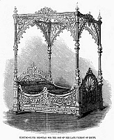 0094026 © Granger - Historical Picture ArchiveEGYPT: VICEROY'S BED, 1857.   Electro-silver bedstead for the son of the late viceroy of Egypt. Wood engraving, English, 1857.