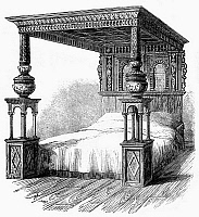 0094029 © Granger - Historical Picture ArchiveGREAT BED OF WARE, c1590.   The Great Bed of Ware, England, built c1590, measuring ten by eleven feet and able to sleep fifteen; mentioned in Shakespeare's 'Twelfth Night.' Wood engraving, 1861.