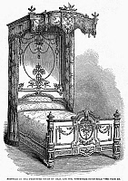 0094036 © Granger - Historical Picture ArchiveVICTORIAN BED, 1862.   Bedstead designed by Heal and Son of Tottenham Court Road, London, England. Wood engraving, 1862.