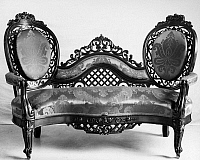 0116659 © Granger - Historical Picture ArchiveVICTORIAN SOFA, c1850.   American Victorian Rococo sofa by John Henry Belter, New York, c1850. Rosewood with carved and pierced work.