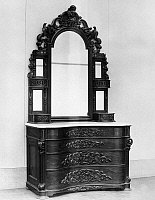 0116665 © Granger - Historical Picture ArchiveVICTORIAN BUREAU, c1860.   American rosewood bedrooom bureau in the Victorian Rococo style by John Henry Belter, New York, c1860.