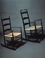 0131071 © Granger - Historical Picture ArchiveSHAKER ROCKING CHAIRS.   Maple with tape seat, c1850 and c1875. From the Shaker community of Mount Lebanon, New York.