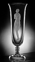 0173010 © Granger - Historical Picture ArchiveSTEUBEN GLASS VASE, 1939.   Steuben Glass vase with a design by Moise Kisling, 1939.
