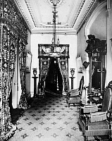 0004452 © Granger - Historical Picture ArchiveBROOKLYN: MORGAN HOME.   The hall in the Morgan home at Brooklyn Heights, New York City, c1880.