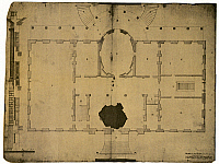 0066258 © Granger - Historical Picture ArchiveWHITE HOUSE: FLOOR PLAN.   The floor plan for the President's House, Washington, D.C. Ink wash and pencil drawing on paper, 1792, by the Irish-born American architect, James Hoban, the design after Leister House in Dublin, Ireland.