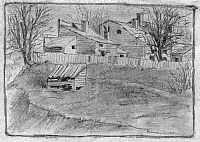 0119550 © Granger - Historical Picture ArchiveCABINS AND LEAN-TO, c1880.   Several houses near Washington, D.C., some with extensions, and a lean-to structure in the foreground. Pencil drawing by Charles Deforest Gedney, c1880.
