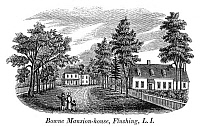 0322324 © Granger - Historical Picture ArchiveBOWNE HOUSE, 1661.   The Bowne House, built in 1661 by John Bowne in Flushing, New York, which became a Quaker refuge and meetinghouse. Wood engraving, American, late 18th or early 19th century.