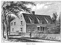 0322326 © Granger - Historical Picture ArchiveBOWNE HOUSE, 1661.   The Bowne House, built in 1661 by John Bowne in Flushing, New York, which became a Quaker refuge and meetinghouse. Engraving, American, 19th century.