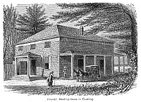 0322327 © Granger - Historical Picture ArchiveNEW YORK: MEETINGHOUSE.   A Quaker meetinghouse in Flushing, New York. Engraving, American, 19th century.