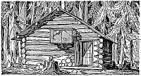 0037907 © Granger - Historical Picture ArchiveLOG CABIN, 20th CENTURY.   Fox Island Cabin, Fox Island, Alaska, where the artist Rockwell Kent lived in 1918. Illustration by Kent to his volume, 'Wilderness: A journal of Quiet Adventure,' 1920.