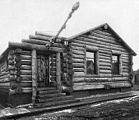 0124348 © Granger - Historical Picture ArchiveALASKA: LOG CABIN, c1916.   The Log Cabin Clubhouse in Nome, Alaska. Photograph, c1916.