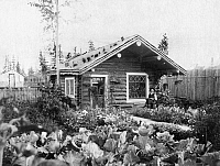 0124387 © Granger - Historical Picture ArchiveALASKA: LOG CABIN, c1916.   A man sitting in front of his log cabin with a flower and vegetable garden in the front yard in Fairbanks, Alaska. Photograph, c1916.