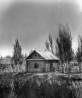 0124398 © Granger - Historical Picture ArchiveUZBEKISTAN: LOG CABIN.   A small log cabin on a mountain ridge along the Orenburg-Tashkent road, Uzbekistan. Photograph, c1865-1872.