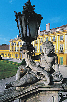 0355942 © Granger - Historical Picture ArchiveART & ARCHITECTURE.   Streetlight with putto and cornucopia, courtyard, Eszterhaza Palace (1720-1766), Fertod, Gyor-Sopron, Hungary. Full Credit: De Agostini / S. Vannini / Granger, NYC -- All Rights Reserved.