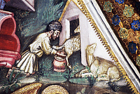 0355956 © Granger - Historical Picture ArchiveART & ARCHITECTURE.   Shepherd milking a sheep, detail from the fresco cycle Stories of the Virgin (1424), by Ottaviano Nelli (1375-1444), Chapel of Trinci Palace, Foligno, Umbria, Italy. Full Credit: De Agostini / S. Vannini / Granger, NYC -- All Rights Reserved.