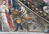 0355959 © Granger - Historical Picture ArchiveART & ARCHITECTURE.   Farmer and donkey with a basket of geese, detail from the fresco cycle Stories of the Virgin (1424), by Ottaviano Nelli (1375-1444), Chapel of Trinci Palace, Foligno, Umbria, Italy. Full Credit: De Agostini / S. Vannini / Granger, NYC -- All rights reserved.
