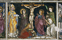 0355961 © Granger - Historical Picture ArchiveART & ARCHITECTURE.   The Crucifixion, detail from the fresco cycle Stories of the Virgin (1424), by Ottaviano Nelli (1375-1444), Chapel of Trinci Palace, Foligno, Umbria, Italy. Full Credit: De Agostini / S. Vannini / Granger, NYC -- All Rights Reserved.
