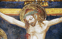 0355962 © Granger - Historical Picture ArchiveART & ARCHITECTURE.   Face of Christ, detail from the fresco cycle Stories of the Virgin (1424), by Ottaviano Nelli (1375-1444), Chapel of Trinci Palace, Foligno, Umbria, Italy. Full Credit: De Agostini / S. Vannini / Granger, NYC -- All ri.