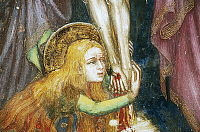 0355963 © Granger - Historical Picture ArchiveART & ARCHITECTURE.   Mary Magdalene at the foot of the Cross, detail from the fresco cycle Stories of the Virgin (1424), by Ottaviano Nelli (1375-1444), Chapel of Trinci Palace, Foligno, Umbria, Italy. Full Credit: De Agostini / S. Vannini / Granger, NYC -- All rights reserved.