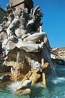 0356039 © Granger - Historical Picture ArchiveART & ARCHITECTURE.   Personification of the River Ganges, detail from the Fountain of the Four Rivers (1651), designed by Gian Lorenzo Bernini (Naples, 1598-Rome, 1680), Piazza Navona, Rome, Lazio, Italy. Full Credit: De Agostini / W. Buss / Granger, NYC -- All rights reserved.