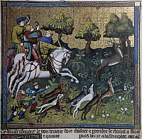 0356263 © Granger - Historical Picture ArchiveART & ARCHITECTURE.   Hunting scene, illustration from the Livre de Chasse, medieval treatise on hunting (1387-1389), by Gaston III, Count of Foix known as Gaston Phoebus, miniature (14th century), Moncade tower (13th century), Orthez, Aquitaine, France. Full Credit: De Agostini / C. Sappa / Granger, NYC -- All Rights Reserved.