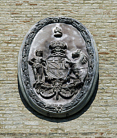0356429 © Granger - Historical Picture ArchiveART & ARCHITECTURE.   Coat of arms of the House of Giustiniani Bandini, Chiaravalle Abbey, Fiastra (12th-13th century), Marche, Italy. Full Credit: De Agostini / R. Carnovalini / Granger, NYC -- All Rights Reserved.