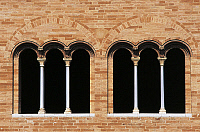 0356430 © Granger - Historical Picture ArchiveART & ARCHITECTURE.   Three mullioned windows, Church of St Mary (12th century), Chiaravalle Abbey, Fiastra, Tolentino, Italy. Full Credit: De Agostini / R. Carnovalini / Granger, NYC -- All Rights Reserved.