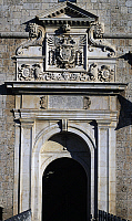 0356730 © Granger - Historical Picture ArchiveART & ARCHITECTURE.   Entrance to Forte Spagnolo, flanked by Doric pilasters surmounted by the double-headed eagle, emblem of the House of Austria (16th century), L'Aquila, Abruzzo, Italy. Full Credit: De Agostini / S. Vannini / Granger, NYC -- All Rights Reserved.