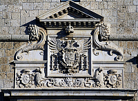 0356731 © Granger - Historical Picture ArchiveART & ARCHITECTURE.   The double-headed eagle, emblem of the House of Austria, detail of the entrance to Forte Spagnolo (16th century), L'Aquila, Abruzzo, Italy. Full Credit: De Agostini / S. Vannini / Granger, NYC -- All rights reserved.