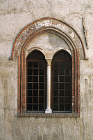 0356875 © Granger - Historical Picture ArchiveART & ARCHITECTURE.   Mullioned window from the Princes of Acaja Castle (14th century), Fossano, Piedmont, Italy. Full Credit: De Agostini / C. Sappa / Granger, NYC -- All rights r