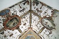 0356876 © Granger - Historical Picture ArchiveART & ARCHITECTURE.   Frescoed ceiling in one of the rooms of the Princes of Acaja Castle (14th century), Fossano, Piedmont, Italy. Full Credit: De Agostini / C. Sappa / Granger, NYC -- All Rights Reserved.