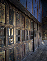 0356929 © Granger - Historical Picture ArchiveART & ARCHITECTURE.   The chapel at the end of the staircase closed off by a painted wooden wall dating from the time of Henri IV, Castle of Marcilly-sur-Maulne (17th century), Centre, France. Full Credit: De Agostini / G. Dagli Orti / Granger, NYC -- All Rights Reserved.