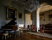 0356950 © Granger - Historical Picture ArchiveART & ARCHITECTURE.   The music room and billiards room, Castle of Digoine (18th century), near Palinges, Burgundy, France. Full Credit: De Agostini / G. Dagli Orti / Granger, NYC -- All Rights Reserved.