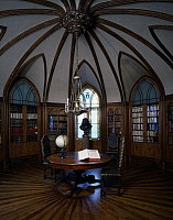 0356952 © Granger - Historical Picture ArchiveART & ARCHITECTURE.   The library in Charles X style with star shaped ceiling and bust of Moliere in the background, Castle of Digoine (18th century), near Palinges, Burgundy, France. Full Credit: De Agostini / G. Dagli Orti / Granger, NYC -- All Rights Reserved.
