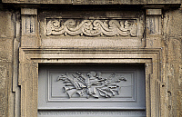 0357135 © Granger - Historical Picture ArchiveART & ARCHITECTURE.   Frieze on a door, Bruneaux Castle (15th-18th century), Firminy, Rhone-Alpes, France. Full Credit: De Agostini / C. Sappa / Granger, NYC -- All rights reserved