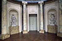 0357156 © Granger - Historical Picture ArchiveART & ARCHITECTURE.   Room with niches and marble statues, Chabert Castle (18th century), wine producers' museum, Boen-sur-Lignon, Rhone-Alpes, France. Full Credit: De Agostini / C. Sappa / Granger, NYC -- All rights reserved.