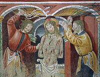 0357188 © Granger - Historical Picture ArchiveART & ARCHITECTURE.   Flagellation, 15th-16th century, detail from the Biblia Pauperum (Paupers' Bible), fresco attributed to Cagnola or Cagnoli Workshop, Church of the Most Holy Trinity, Momo, Piedmont, Italy. Full Credit: De Agostini / G. Dagli Orti / Granger, NYC -- All rights reserved.