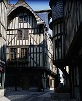 0357207 © Granger - Historical Picture ArchiveART & ARCHITECTURE.   Half-timbered houses in the medieval rue Champeaux, Troyes, Champagne-Ardenne, France. Full Credit: De Agostini Picture Library / Granger, NYC -- All rights r